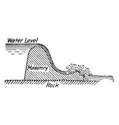 Masonry dam vintage vector