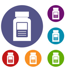 Medicine bottle icons set vector