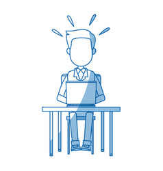 person working on computer sitting on a chair vector image vector image