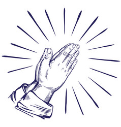 praying hands symbol of christianity hand drawn vector image vector image