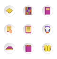 Reading books icons set cartoon style vector