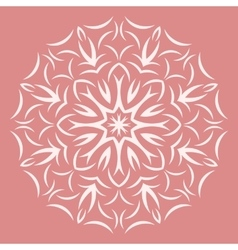 Round white flower pattern on pink background vector