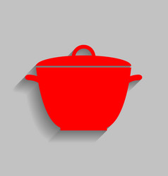 Saucepan simple sign red icon with soft vector
