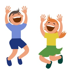 Set of kids jumping with joy vector