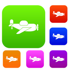 Toy plane set color collection vector