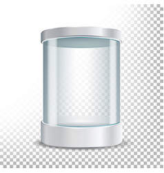 Transparent glass museum showcase podium mock up vector