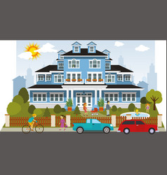 Victorian family house vector
