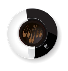 white and black cup of coffee vector image