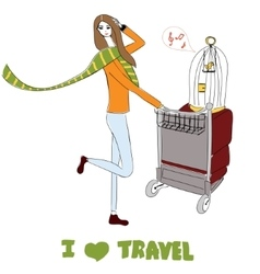 Young women with suitcases and bird cage For t vector image vector image