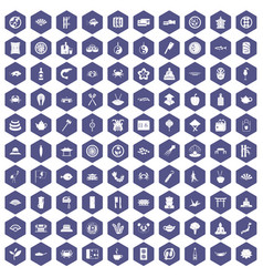 100 sushi bar icons hexagon purple vector