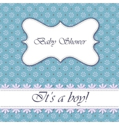 Polka dot flowers baby shower boy vintage vector image