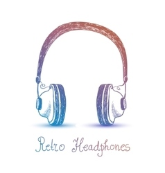 Retro headphones earphones vector