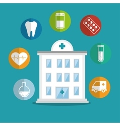 Building hospital care service icons vector