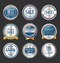Premium and luxury silver and black retro badges vector