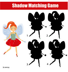 Shadow matching game kids activity with beautiful vector