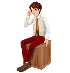A businessman sitting vector