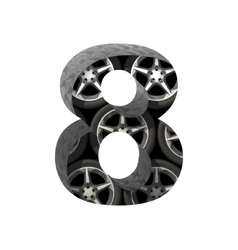 Metal and wheels cutted figure 8 paste to any vector