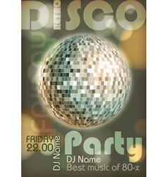 Retro disco poster disco background vector