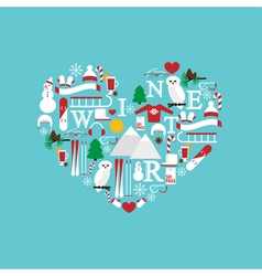 Heart from winter icons color vector
