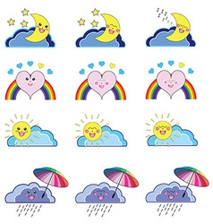 Kwaii weather icons vector