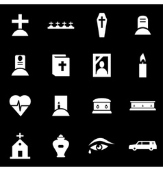 White funeral icon set vector