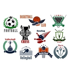 Sport games icons and heraldic emblems vector
