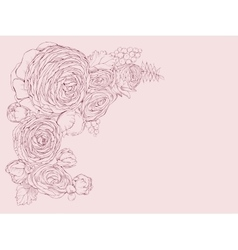 Greeting pink horizontal card with linear peony vector