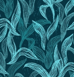 Seamless pattern with line leaves vector