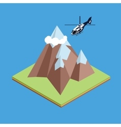 Isometric helicopter in mountain vector