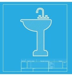 Bathroom sink sign white section of icon on vector