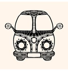 Hippie vintage car a mini van vector