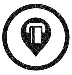 Atm map marker rounded icon rubber stamp vector