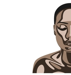 Beauty woman with chocolate mask on skin vector