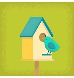 Bird and birdhouse vector image