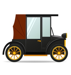 cartoon old retro car in black color vector image