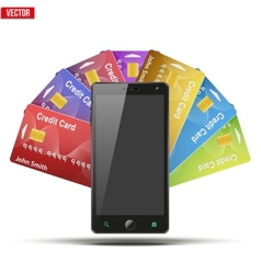 Credit Card And Cell Phone vector image vector image