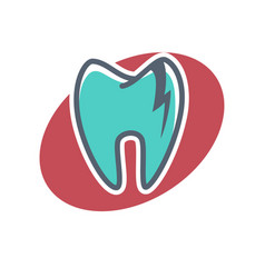 dental logo on oval shape background dentistry vector image vector image