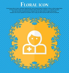 Doctor Floral flat design on a blue abstract vector image