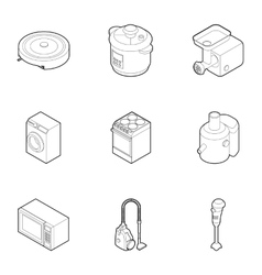 Electronic kitchen equipment icons set vector