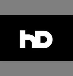 Hd h d black white bold joint letter logo vector