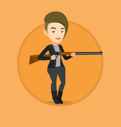Hunter ready to hunt with hunting rifle vector