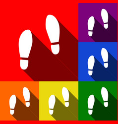 Imprint soles shoes sign set of icons vector