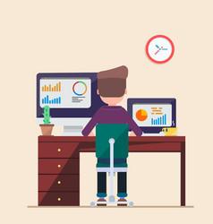 man working on computer laptop vie businessman vector image vector image