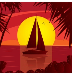 Sailing yacht on the open sea at sunset vector