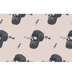 Seamless pattern background of vintage skull vector image vector image