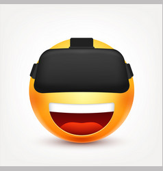 Smiley with vr glassessmiling emoticon yellow vector