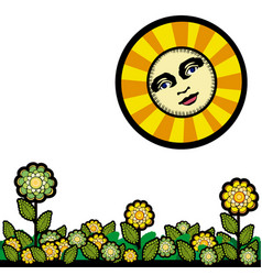 Sun and flowers in vintage style vector