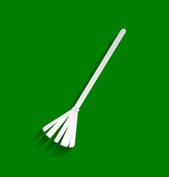 Sweeping broom sign paper whitish icon vector