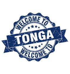 Tonga round ribbon seal vector