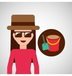 toursit female hat sunglasses bucket shovel sand vector image vector image